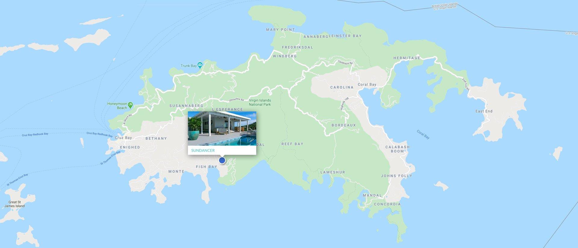 Sundancer Villa St John island map location